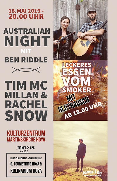 Australian Night - Konzert in der Martinskirche mit Tim Mc Millan, Rachel Snow & Ben Riddle